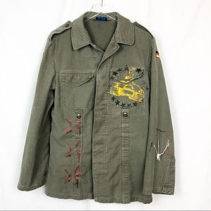 Unisex Distressed style Military Green Jacket